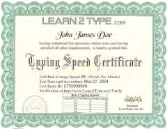 Typing Certificate Document
